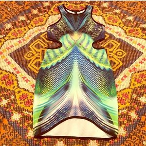 Psychedelic trippy dress cut out rave festival